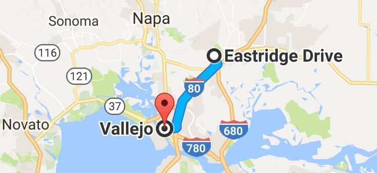 Map from Eastridge Dr, Fairfield, CA 94534 to Vallejo, California LATEST EVACUATION 6PM 10/11/17