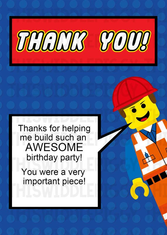 lego thank you cards  you get 2 different cards    one with a message  and one that u0026 39 s blank so