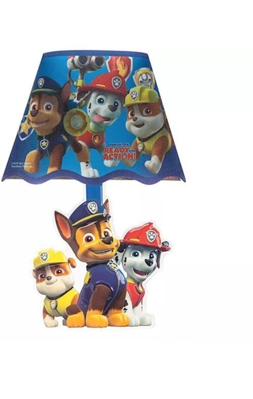 Paw Patrol Lamp Shade Kids Night Light Boys Bedroom Decor Chase Blue Room Gift | eBay