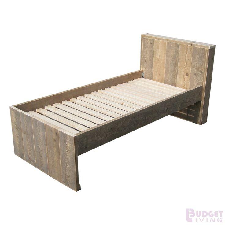 Steigerhout Bed met hoofdbord eenpersoons - Naar uw wens en op Maat gemaakt