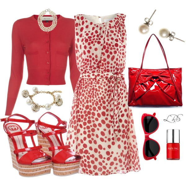 """Red Patent Leather, Polka Dots, & Pearls"" by lisa-sanner on Polyvore: Dots Dresses, Patent Leather, Polka Dots, Lisa Sann, Everyday Style, Style Dresses, Red Patent, Fashion Lif, Leather Bags"