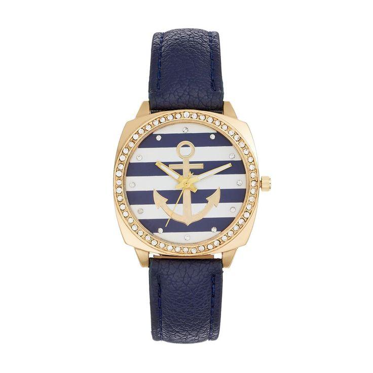 Women's Crystal Anchor Watch, Size: Medium, Blue