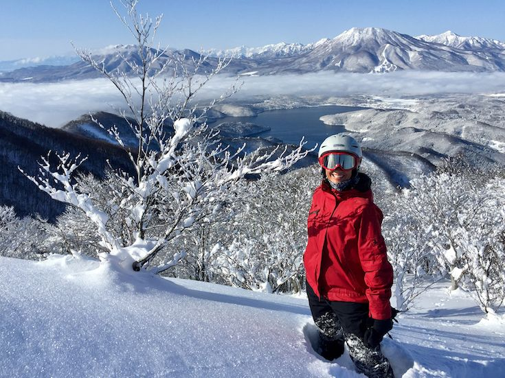 View from the summit of Madarao Mountain ski and snowboarding resort Japan