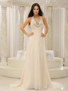 Halter Top Beaded and Ruched Beautiful Prom Dresses Made in Chiffon