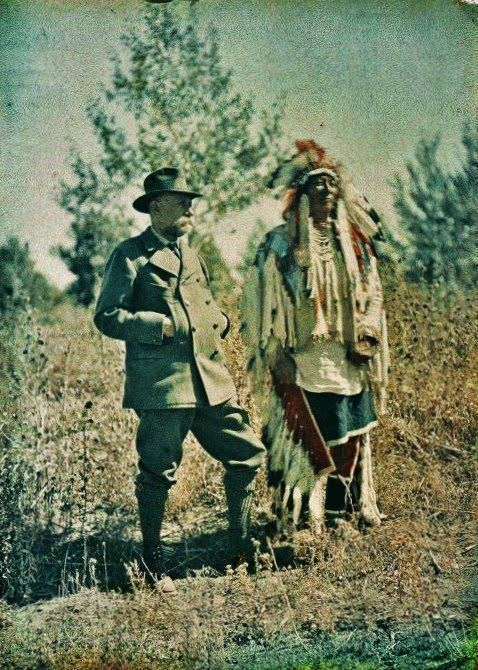 Prince Albert of Monaco is Photographed with Plenty Coups in 1913 http://indianspictures.blogspot.de/2014/08/rare-colorized-photos-of-crow-indians.html