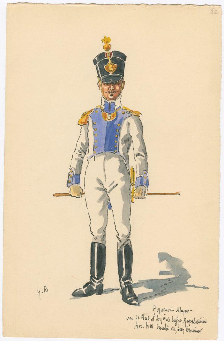 Kingdom of Naples; 9th Line Infantry, Adjutant-Major, 1812-13 by H.Boisselier