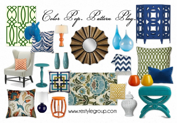 Love the new style board that Restyle Group put out!: Living Rooms, Style Boards, Delight Decor, Design Boards, Pop Patterns, Olioboard Patternplay, Client Style, Patterns Plays, Color Pop