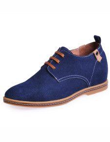 Men's Shoes Retro Blue Lace Up Cowhide Man's Elevator Shoes