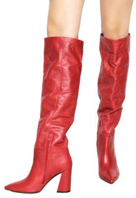 82717ad6fa24c Bota Vermelha de Cano Longo Over The Knee