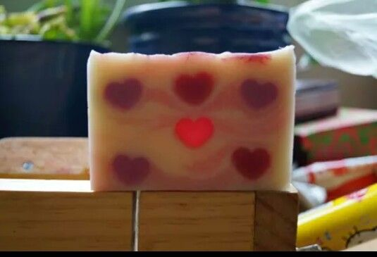 Pretty stain glass Window CP soap with M&P embeds. Heart soap.