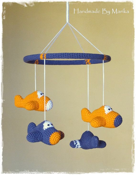 Baby crib mobile crochet airplanes organic cotton por ByMarika