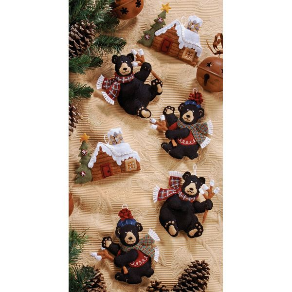 Black Bear Bonfire Bucilla Felt Ornaments. MerryStockings will have these available on March 13th at MerryStockings.com. Price will be 23.99.