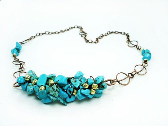 Turquoise and Gold Copper Bib Short Necklace by MargosHandmade