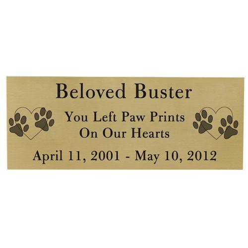 Engraved Pet Memorial Plaque- Large Brass Finish Black Fill