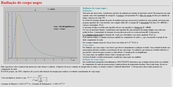 Applet interessante que permite variar o valor da temperatura do corpo e com isso alterar a estrutura do gráfico da potência luminosa em função da frequência das radiações emitidas. Uma boa ferramenta de exploração apropriada para o 10º Ano.