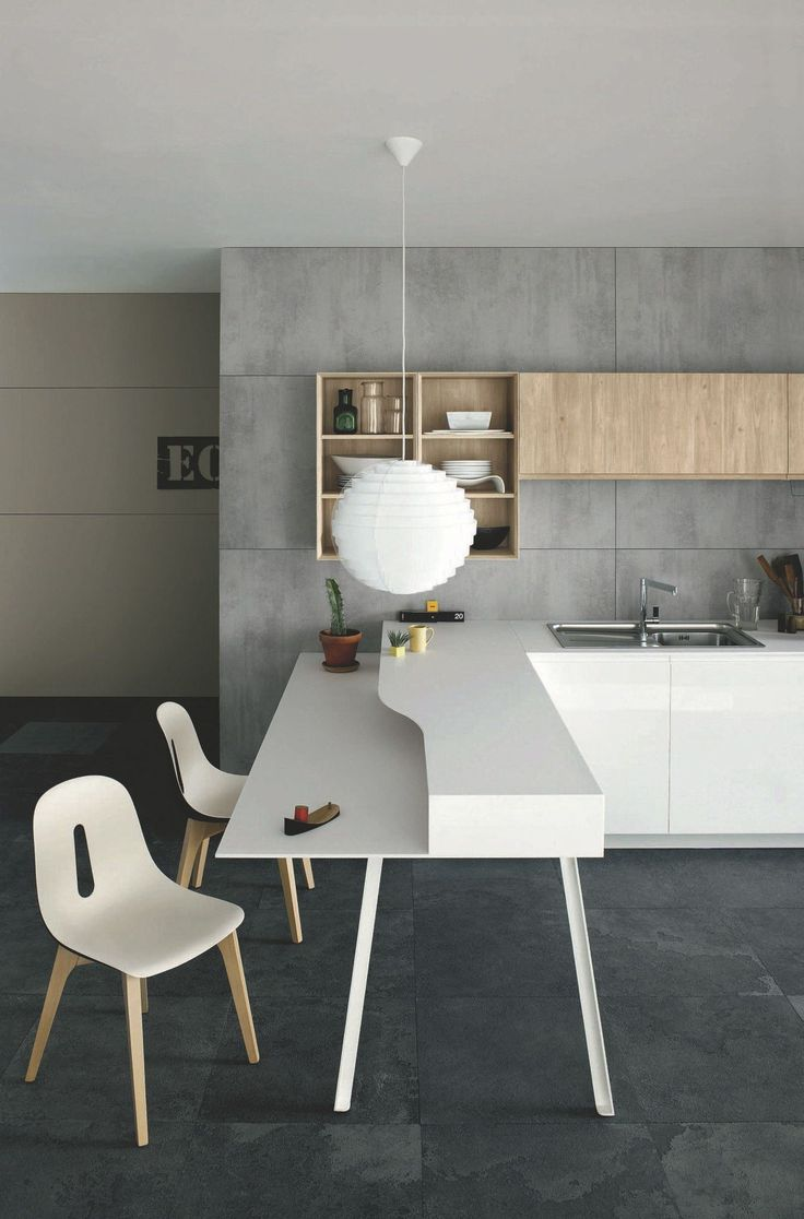 Kitchen With Peninsula Without Handles MILA 02 By Cesar Arredamenti / Gian  Vittorio Plazzogna