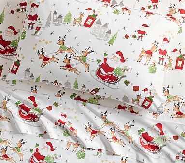 North Pole Percale Sheet Set Standard Pillow Case White