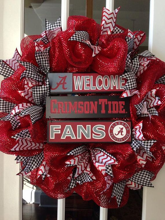 Alabama Football Deco Mesh Wreath made to order. Picture depicts how the wreath will appear. Work wreath is 16 inches in size and finished wreath is