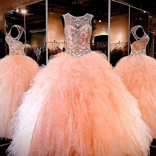 Amazing Rhinestone Crystals Blush Peach Quinceanera Dresses 2016 Sexy Sheer Crew Sweet 16 Ruffle Princess Prom Ball Birthday Party Gowns