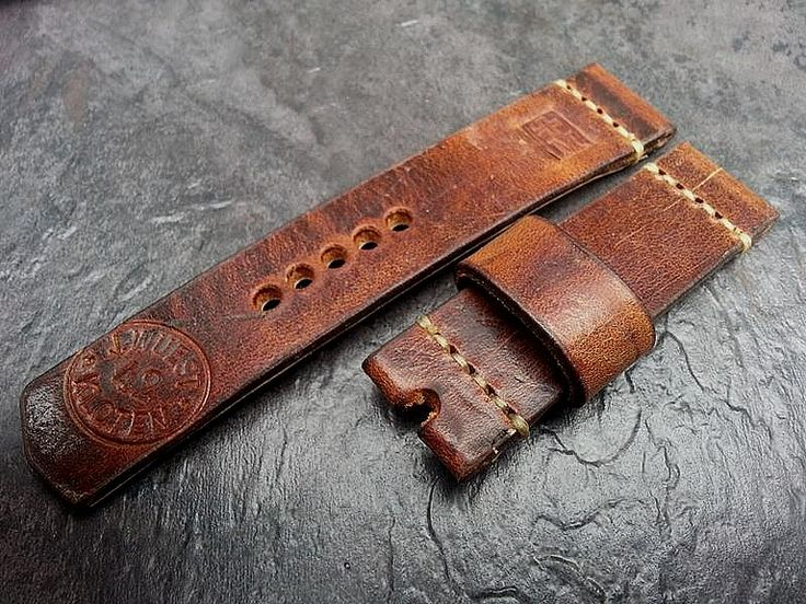 Lederarts watch strap, made from 1942 Swiss Army ammo bag