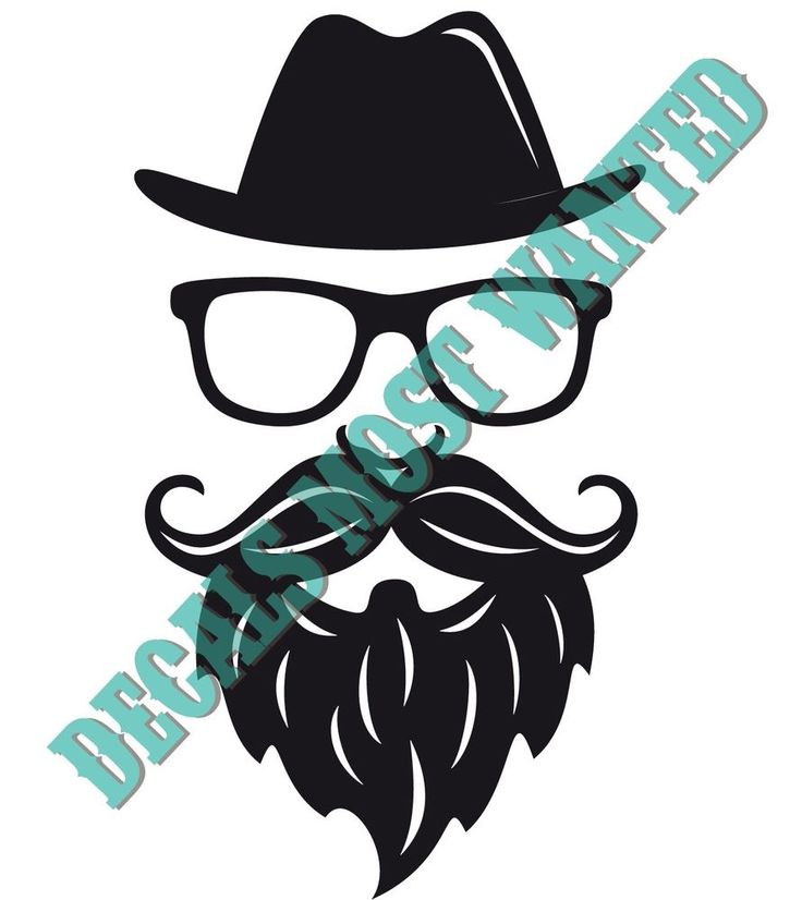 Hipster decal sticker die cut vinyl decal mustache stache glasses beard decalsmostwanted