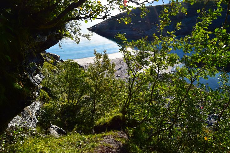 Hiking down to Hovdsundet beach in Northern Norway