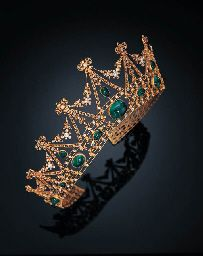 """A BELLE EPOQUE EMERALD AND DIAMOND TIARA, TIFFANY & CO.   cabochon emeralds and pear-shaped emeralds, with Austrian assay marks, c1905."