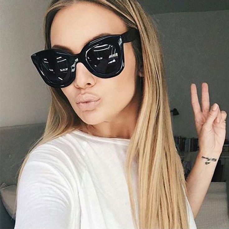 Rivet Cat Eye Women Mirror Sunglasses