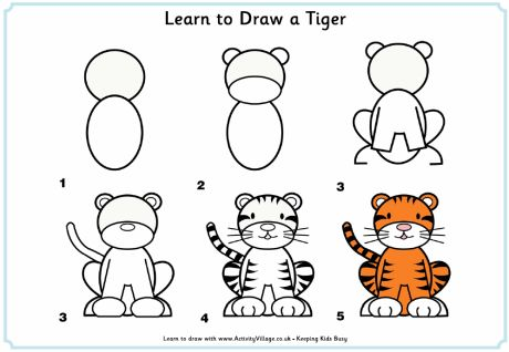 Learn to draw a tiger lots of other color crafts link from this page too.