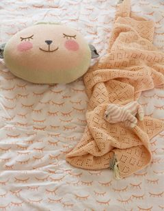 "Pretty pink ""Oh So Sleepy"" coverlet! From the Petit Home collection."