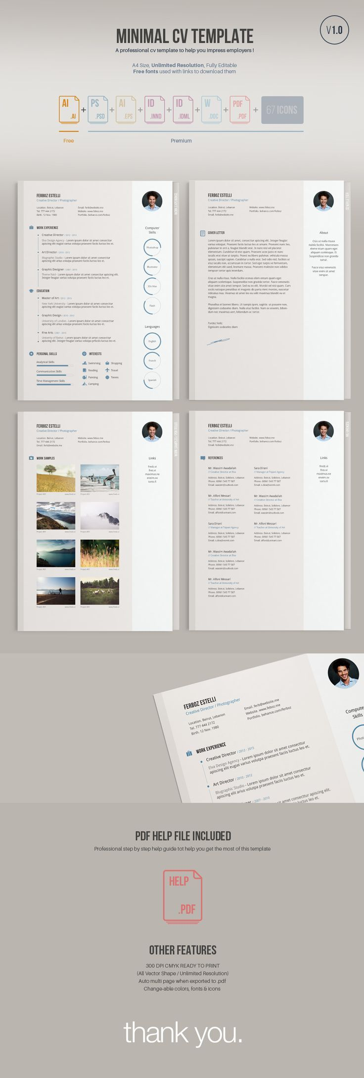 A minimal easy to edit free resume template; free version comes in illustrator vector Ai format.