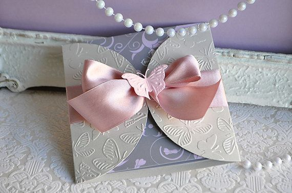 Flutter by Dusty Rose and Silver and Pink by InvitatiiCouture