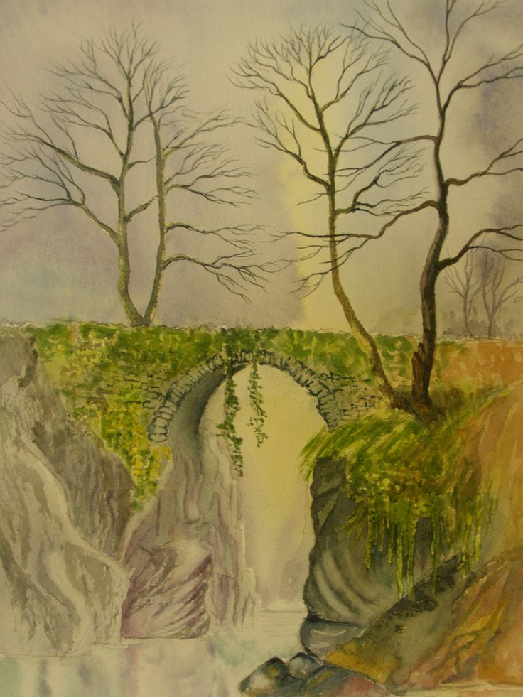 Pack Horse Bridge 12 x 16 Water colour by   C Walters