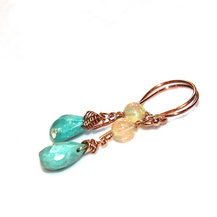 Sleeping Beauty Turquoise Earrings Turquoise Jewelry Rose Gold Welo Opal Earrings Ethiopian Opal Jewelry Pink Gold Earring Everyday Earrings by FizzCandy on Etsy