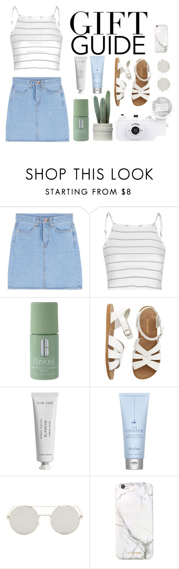 """Gift Guide"" by pastel-tumblr ❤ liked on Polyvore featuring Glamorous, Clinique, Salt Water Sandals, Byredo, Drybar, russell+hazel, gifts, guide and prezzies"