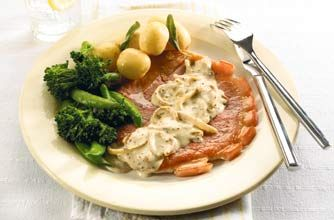 Gammon steak with a nice creamy mustard sauce