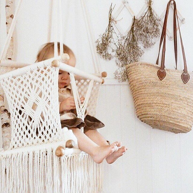 Macrame baby swing from Adelisa & Co. #macramebabyhammock