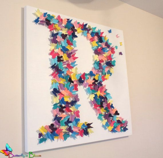 30 x 30 3D Butterfly Initial Wall Art by TheButterflyInBloom