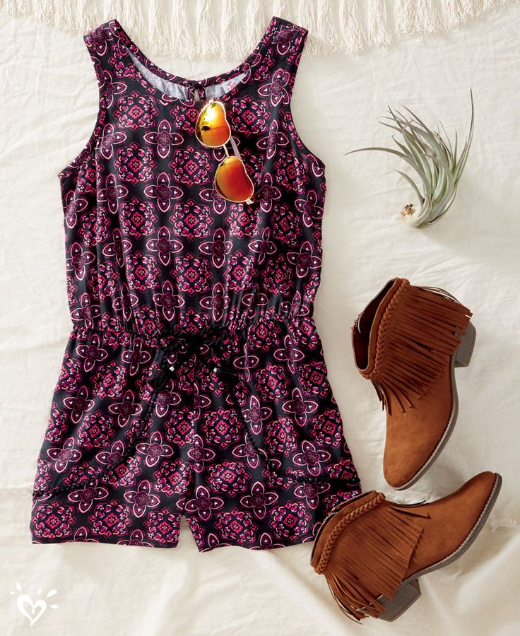 A romper + a pair of fringed booties = a totally now look!