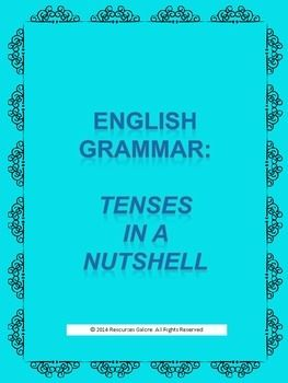 'Tenses in a Nutshell' is a resource that aims at teaching and reinforcing three types of tenses (present, past and future), their variations (simple, progressive, perfect and perfect progressive) and their applications with regards to first, second and third persons.