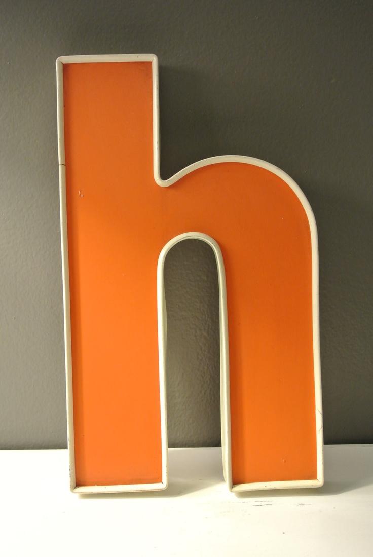 Avalisa letter upper case t stretched wall art - Vintage Orange And White Lower Case Letter H