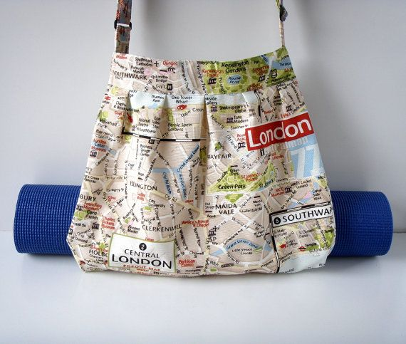 Yoga Bag London Map with Strap for Yoga Mat Handmade by BabiminiS
