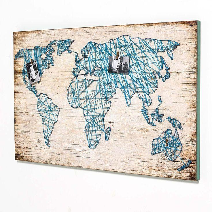 Wandbild Travel, mit Weltkarte aus Bindfaden | Bilder | Dekoration