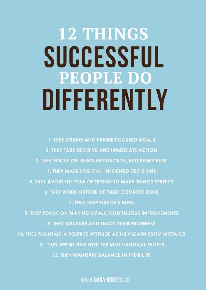Successful people have different actions and habits. Daily Quotes, Success Quotes, 12 Things, Success People, Successful...