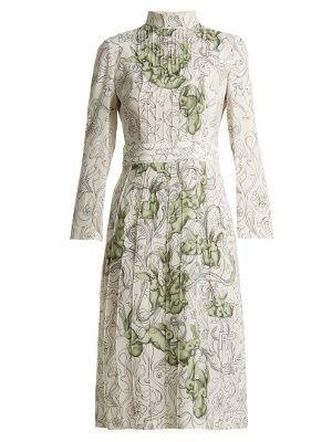 Rabbit-print pintucked crepe dress | Prada | MATCHESFASHION.COM US