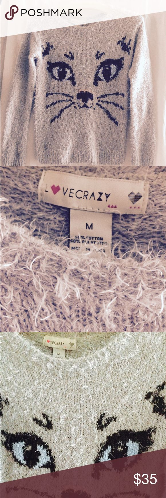 Kitty Kat cashmere blend sweater Love Crazy Love Crazy brand. Size M. Brand new. Cutest Kitty Kat print. Love Crazy Sweaters Crew & Scoop Necks