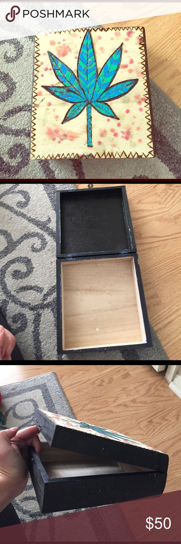 Pot leaf box Pot leaf box jewelry box chess wood box weed decoration marijuana grunge UNIF Other