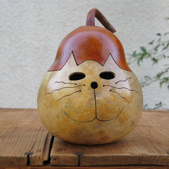 Kitty Cat Gourd Natural Centerpiece Decoration (with removable lid)
