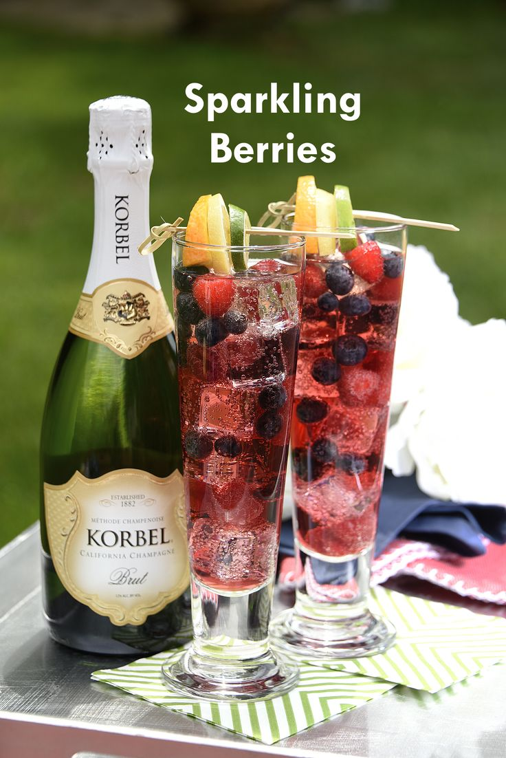 Your ultimate backyard 4th of July cocktail! Refresh yourself with this thirst-quenching Sparkling Berries cocktail. Perfect for serving guest that love the taste of fresh fruit and KORBEL champagne. Recipe: www.korbel.com