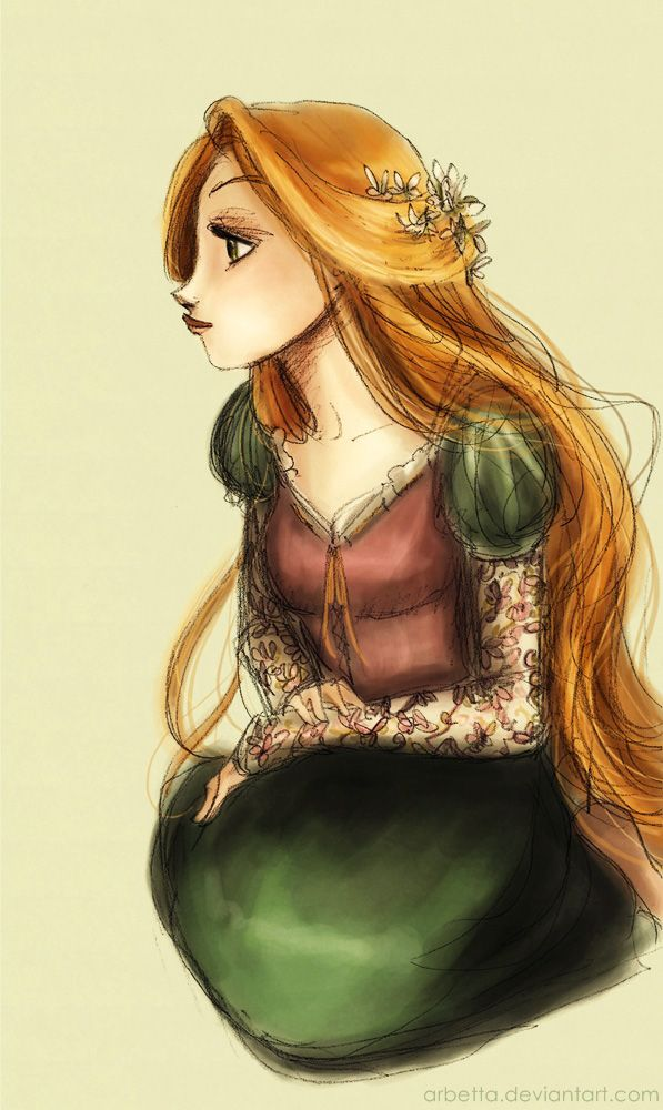 "Flowers Girl. illustration / Ragazza dei Fiori. Illustrazione - Art by Arbetta on deviantART, ""Looking back"""